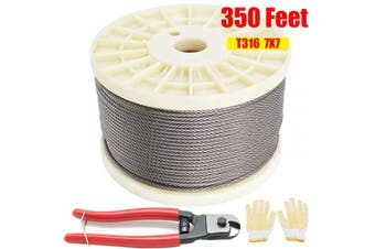 CKE 1/8 T316 Stainless Steel Cable with Heavy Duty Wire Rope Cutter, Aircraft Cable for Deck Railing, 7 x 7 Strands Construction, 110m with Pair of Non-Slip Gloves