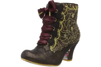 (4 UK, Red Burgundy F) - Irregular Choice Women's Chinese Whispers Ankle Boots