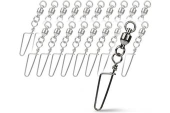 (6#_145lb_20pcs) - Booms Fishing BBC Ball Bearing Swivel with Double Welded Rings and Coastlock Snaps 6.8kg to 6.8kg