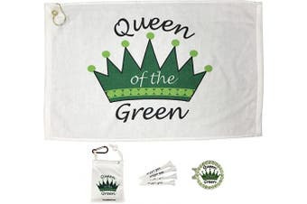 (Queen of the Green) - Giggle Golf Par 3 - Golf Towel, Tee Bag with 4 Tees, and Bling Ball Marker with Hat Clip - Perfect Golf Gift for Women