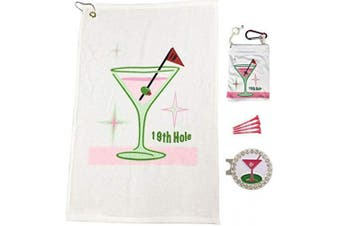 (19th Hole) - Giggle Golf Par 3 - Golf Towel, Tee Bag with 4 Tees, and Bling Ball Marker with Hat Clip - Perfect Golf Gift for Women