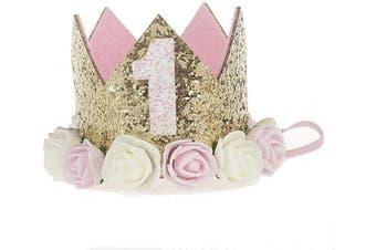 (1st Birthday crown) - Baby Princess Crown 2.5cm Tiara Kids First Birthday Hat Sparkle Gold Flower Design (1st Birthday Crown), L