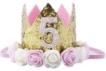 """(5st Birthday crown) - Baby Princess Crown""""5"""" Tiara Kids First Birthday Hat Sparkle Gold Flower Design (5st Birthday Crown)"""