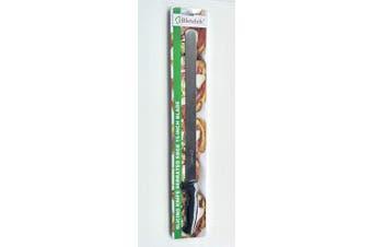 (Serrated, Black) - Bleteleh Slicing Knife Serrated Edge 38cm Blade, Black Handle
