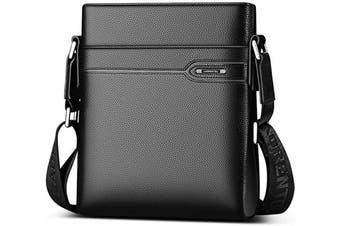 (Black) - LAORENTOU Leather Shoulder Bags for Men, Genuine Leather, Waterproof, 2 Colours, Zipper Design, with Adjustable Shoulder Strap, Men's Crossbody Bags, Mens Messenger Bags, Business Satchel Bags