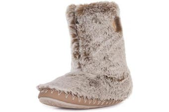 (7/8 UK, Cinnamon Bear) - Bedroom Athletics Women's Cole Faux Fur Slipper Boots