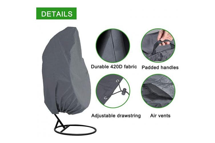 200cm Hx 42 D Akefit Patio Hanging Chair Cover Single Wicker Swing Egg Chair Waterproof Fabric Outdoor Pod Chair Swingasan Protector Cover Designed With Drawstring Handles For Easy Use Grey Matt Blatt