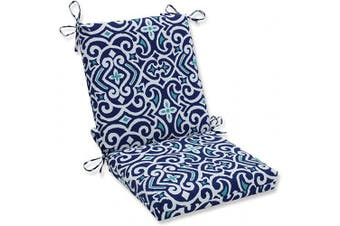 (Square Corner Chair Cushion) - Pillow Perfect Outdoor | Indoor New Damask Marine Squared Corners Chair Cushion