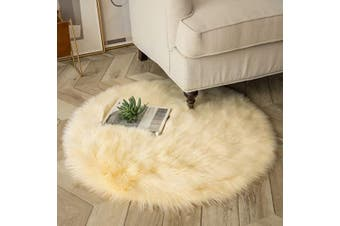 (0.9m x 0.9m Round, Yellow) - Ashler Ultra Soft Fluffy Area Rug Faux Fur Sheepskin Carpet Chair Couch Cover for Bedroom Floor Sofa Living Room, Yellow Round 0.9m x 0.9m