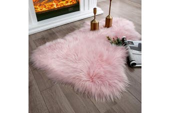 (0.6m x 0.9m Sheepskin, Pink) - Ashler Soft Faux Sheepskin Fur Chair Couch Cover Pink Area Rug for Bedroom Floor Sofa Living Room 0.6m x 0.9m