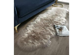 (0.6m x 1.8m Sheepskin, Beige) - Ashler Soft Faux Sheepskin Fur Chair Couch Cover Beige Area Rug for Bedroom Floor Sofa Living Room 0.6m x 1.8m