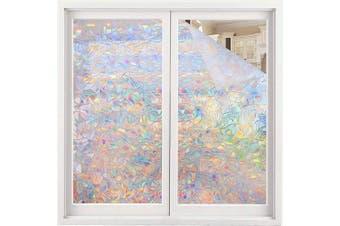 (60cm  x 200cm ) - Volcanics Window Privacy Film Static Window Clings Vinyl 3D Window Decals Window Stickers Rainbow Window Film for Glass Door Home Heat Control Anti UV 60cm x 200cm