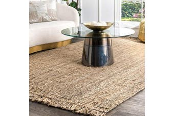 (0.6m x 0.9m, Natural) - nuLOOM Natura Collection Chunky Loop Accent Jute Rug, 0.6m x 0.9m, Natural