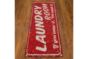 (50cm  X 150cm , Red Bubbles) - Ottomanson Laundry Collection Runner Rug, 50cm X 150cm , Red Bubbles
