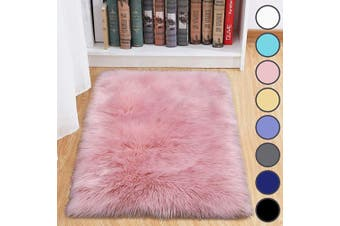 (0.6m x 0.9m, Pink) - junovo Luxury Fluffy Area Rugs Furry Rug for Bedroom Faux Fur Sheepskin Nursery Rugs Fur Carpet for Kids Room Living Room Home Decor Floor Mat, 0.6m x 0.9m Pink