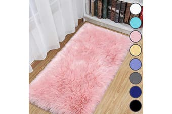 (0.6m x 1.2m, Pink) - junovo Luxury Fluffy Area Rugs Furry Rug for Bedroom Faux Fur Sheepskin Nursery Rugs Fur Carpet for Kids Room Living Room Home Decor Floor Mat, 0.6m x 1.2m Pink