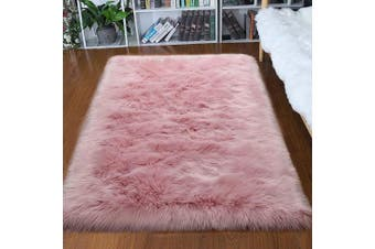 (1.2m x 1.8m, Pink) - Junovo Ultra Soft Thick Fluffy Faux Sheepskin Area Rug, White Fur Rug for Living Room Bedroom Dormitory Home Decor, 1.2m x 1.8m Pink