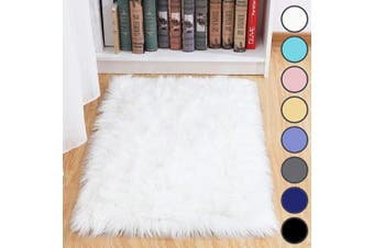 (0.6m x 0.9m, White) - junovo Luxury Fluffy Area Rugs Furry Rug for Bedroom Faux Fur Sheepskin Nursery Rugs Fur Carpet for Kids Room Living Room Home Decor Floor Mat, 0.6m x 0.9m White