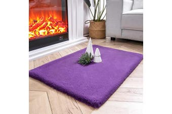 (0.6m x 0.9m Rectangle, Purple) - Ashler Ultra Soft Faux Rabbit Fur Chair Couch Cover Area Rug for Bedroom Floor Sofa Living Room Purple-Rectangle 0.6m x 0.9m