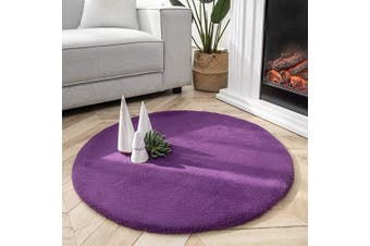 (0.9m x 0.9m Round, Purple) - Ashler Ultra Soft Faux Rabbit Fur Chair Couch Cover Area Rug for Bedroom Floor Sofa Living Room Purple- 0.9m x 0.9m Round