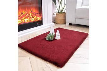 (0.6m x 0.9m Rectangle, Red) - Ashler Ultra Soft Faux Rabbit Fur Chair Couch Cover Area Rug for Bedroom Floor Sofa Living Room Red-Rectangle 0.6m x 0.9m
