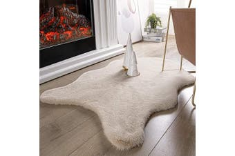 (0.6m x 0.9m Sheepskin, Beige) - Ashler Ultra Soft Faux Rabbit Fur Chair Couch Cover Area Rug for Bedroom Floor Sofa Living Room Beige 0.6m x 0.9m