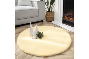 (0.9m x 0.9m Round, Yellow) - Ashler Ultra Soft Faux Rabbit Fur Chair Couch Cover Area Rug for Bedroom Floor Sofa Living Room Yellow- 0.9m x 0.9m Round