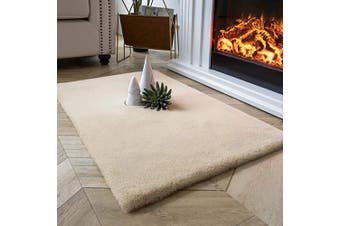 (0.6m x 0.9m Rectangle, Beige) - Ashler Ultra Soft Faux Rabbit Fur Chair Couch Cover Area Rug for Bedroom Floor Sofa Living Room Beige Rectangle 0.6m x 0.9m