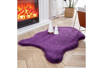 (0.6m x 0.9m Sheepskin, Purple) - Ashler Ultra Soft Faux Rabbit Fur Chair Couch Cover Area Rug for Bedroom Floor Sofa Living Room Purple 0.6m x 0.9m