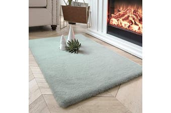 (0.6m x 0.9m Rectangle, Green) - Ashler Ultra Soft Faux Rabbit Fur Chair Couch Cover Area Rug for Bedroom Floor Sofa Living Room Green Rectangle 0.6m x 0.9m