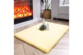 (0.6m x 0.9m Rectangle, Yellow) - Ashler Ultra Soft Faux Rabbit Fur Chair Couch Cover Area Rug for Bedroom Floor Sofa Living Room Yellow-Rectangle 0.6m x 0.9m