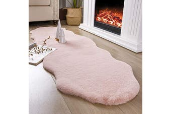 (0.6m x 1.8m Sheepskin, Pink) - Ashler Ultra Soft Faux Rabbit Fur Chair Couch Cover Area Rug for Bedroom Floor Sofa Living Room Pink 0.6m x 1.8m