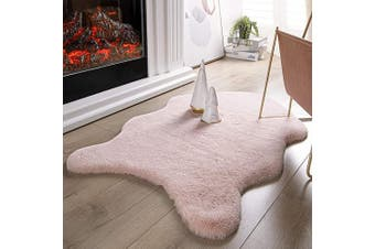 (0.6m x 0.9m Sheepskin, Pink) - Ashler Ultra Soft Faux Rabbit Fur Chair Couch Cover Area Rug for Bedroom Floor Sofa Living Room Pink 0.6m x 0.9m