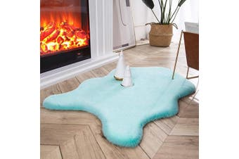 (0.6m x 0.9m Sheepskin, Turquoise) - Ashler Ultra Soft Faux Rabbit Fur Chair Couch Cover Area Rug for Bedroom Floor Sofa Living Room Turquoise 0.6m x 0.9m