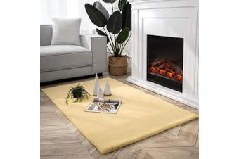 (0.9m x 1.5m Rectangle, Yellow) - Ashler Ultra Soft Faux Rabbit Fur Chair Couch Cover Area Rug for Bedroom Floor Sofa Living Room Yellow-Rectangle 0.9m x 1.5m
