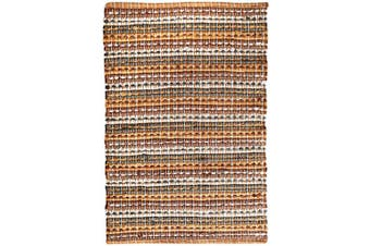 (24x36, Mustard Combo) - Cotton Chindi Bath Rug 24x36-100% Cotton Soft Absorbent and Machine Washable Shower Bath Rug -Mustard Combo,Bathroom Bath Rugs Set, Cotton Bath Mat,Cotton Bath Rugs, Entryway Rugs,0.6m x 0.9m Rug