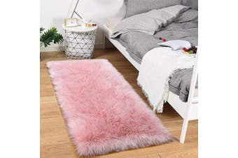 (0.6m x 1.2m, Pink) - Noahas Faux Sheepskin Area Rugs Silky Long Wool Carpet for Living Room Bedroom, Children Play Dormitory Home Decor Rug, 0.6m x 1.2m Pink