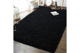 (1.5m x 2.4m, Black) - Andecor Soft Fluffy Bedroom Rugs - 1.5m x 2.4m Indoor Shaggy Plush Area Rug for Boys Girls Kids Baby College Dorm Living Room Home Decor Floor Carpet, Black