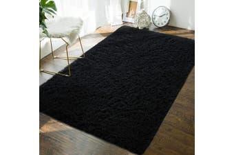 (1.2m x 1.8m, Black) - Andecor Soft Fluffy Bedroom Rugs - 1.2m x 1.8m Indoor Shaggy Plush Area Rug for Boys Girls Kids Baby College Dorm Living Room Home Decor Floor Carpet, Black