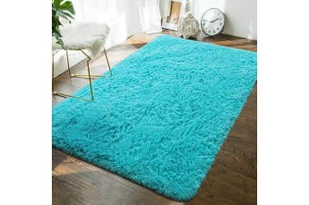 (1.2m x 1.8m, Teal Blue) - Andecor Soft Fluffy Bedroom Rugs - 1.2m x 1.8m Indoor Shaggy Plush Area Rug for Boys Girls Kids Baby College Dorm Living Room Home Decor Floor Carpet, Teal Blue