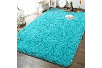 (1.5m x 2.4m, Teal Blue) - Andecor Soft Fluffy Bedroom Rugs - 1.5m x 2.4m Indoor Shaggy Plush Area Rug for Boys Girls Kids Baby College Dorm Living Room Home Decor Floor Carpet, Teal Blue