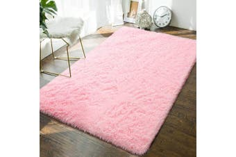 (1.2m x 1.8m, Baby Pink) - Andecor Soft Fluffy Bedroom Rugs - 1.2m x 1.8m Indoor Shaggy Plush Area Rug for Boys Girls Kids Baby College Dorm Living Room Home Decor Floor Carpet, Baby Pink