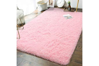 (1.5m x 2.4m, Baby Pink) - Andecor Soft Fluffy Bedroom Rugs - 1.5m x 2.4m Indoor Shaggy Plush Area Rug for Boys Girls Kids Baby College Dorm Living Room Home Decor Floor Carpet, Baby Pink