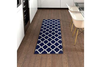 (0.6m x 1.8m, Navy Ivory) - Ottomanson Pink Collection Area Rug, Navy Ivory