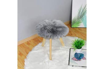 (0.4m Diameter, Grey) - Carvapet Soft Round Faux Sheepskin Fur Area Rugs Plush Chair Cover Seat Pad for Bedroom and Living Room, 0.4m Diameter, Grey