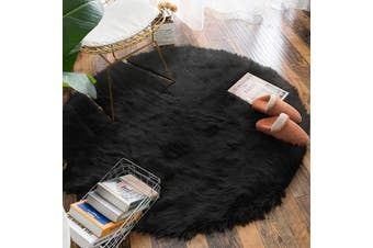 (1.2m Diameter, Black) - Carvapet Luxury Soft Round Faux Sheepskin Fur Area Rugs Chair Cover for Bedroom and Living Room, 1.2m Diameter, Black