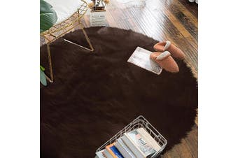 (1.2m Diameter, Brown) - Carvapet Luxury Soft Round Faux Sheepskin Fur Plush Area Rugs for Bedroom and Living Room, 1.2m Diameter, Brown