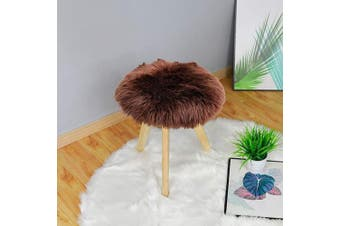 (0.4m Diameter, Brown) - Carvapet Soft Round Faux Sheepskin Fur Area Rugs Plush Chair Cover Seat Pad for Bedroom and Living Room, 0.4m Diameter, Brown