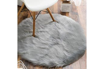 (0.9m Diameter, Grey) - Carvapet Luxury Soft Round Faux Sheepskin Fur Area Rugs Chair Cover for Bedroom and Living Room, 0.9m Diameter, Grey