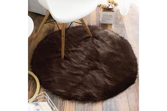 (0.9m Diameter, Brown) - Carvapet Luxury Soft Round Faux Sheepskin Fur Plush Area Rugs for Bedroom and Living Room, 0.9m Diameter, Brown